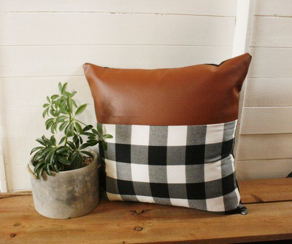 Plaid Faux Leather Pillow Cover 18 X 18 Black And White Etsy Brown Leather Couch Leather Pillow Buffalo Plaid Pillows