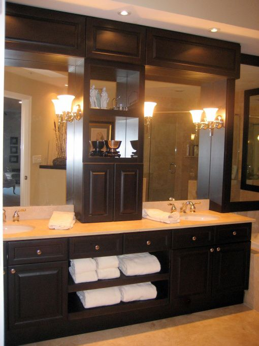 Master Bath Remodel, We eliminated the hollywood lights, added the furniture piece above each sink, sconces to light the face, and recessed lights