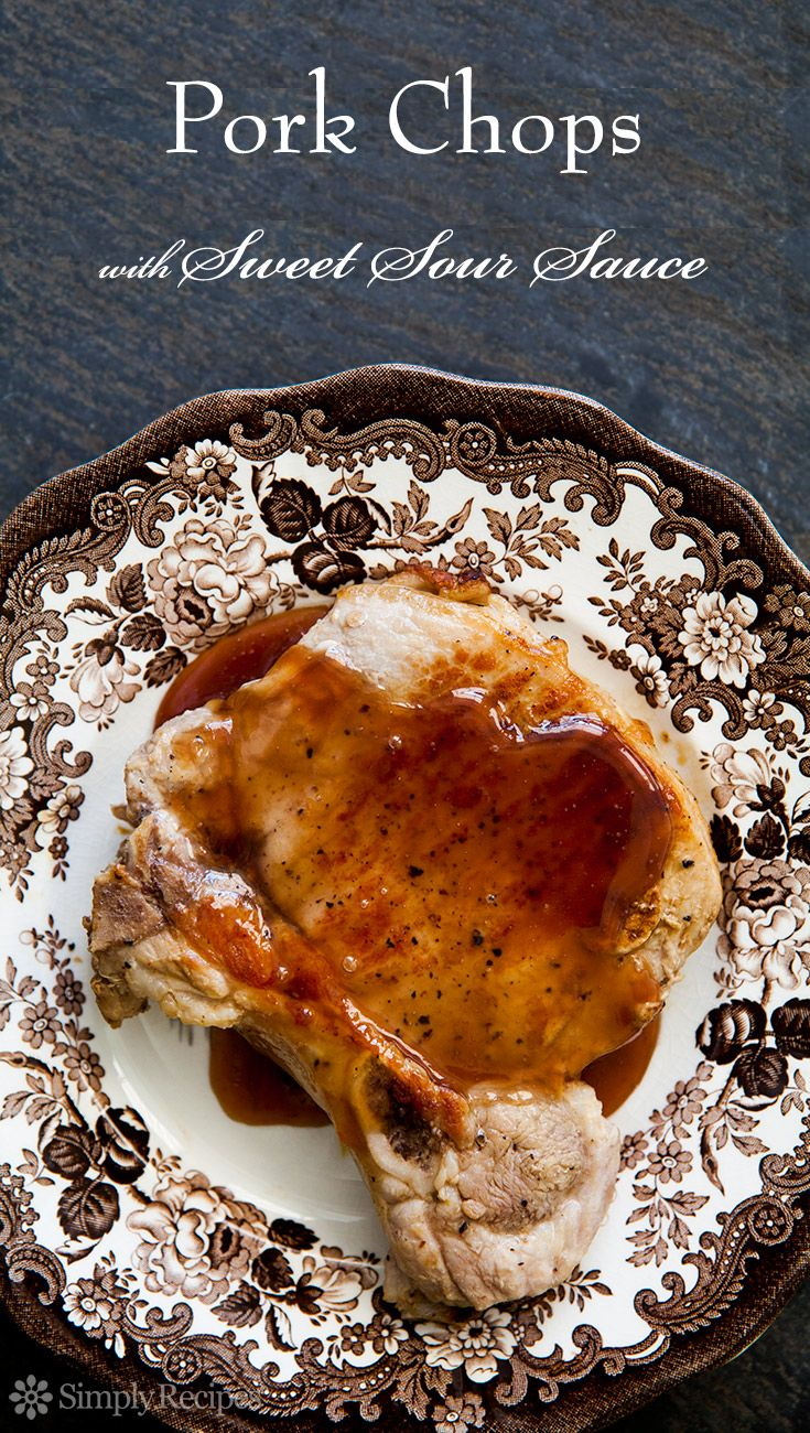 Pork Chops with Sweet and Sour Sauce - Delicious pork chops with an easy-to-make sweet and sour sauce made with red currant jelly and Dijon mustard.  Simple pork chop recipe. ~ SimplyRecipes.com