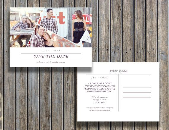 Save the Date Vintage Postcard Template -5x7 Customizable Card ...
