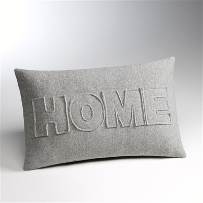 'Home' Oblong Cushion Cover with Zip Fastening, 3 Colours Navy blue+Grey marl+Khaki green