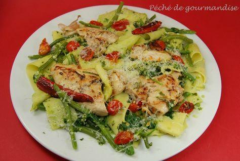 Pâtes au pesto, poulet a l'ail et au romarin d'après Jamie Oliver!