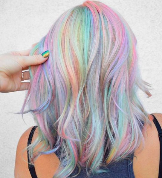 Holographic Hair Trend and How to Try ItYou can find Pastel hair and more on our website.Holographic Hair Trend and How to Try It Hair Dye Colors, Cool Hair Color, Crazy Hair Colour, Pastel Hair Colors, Vibrant Colors, Vivid Hair Color, Pastel Nails, Grunge Hair, Hair Colors