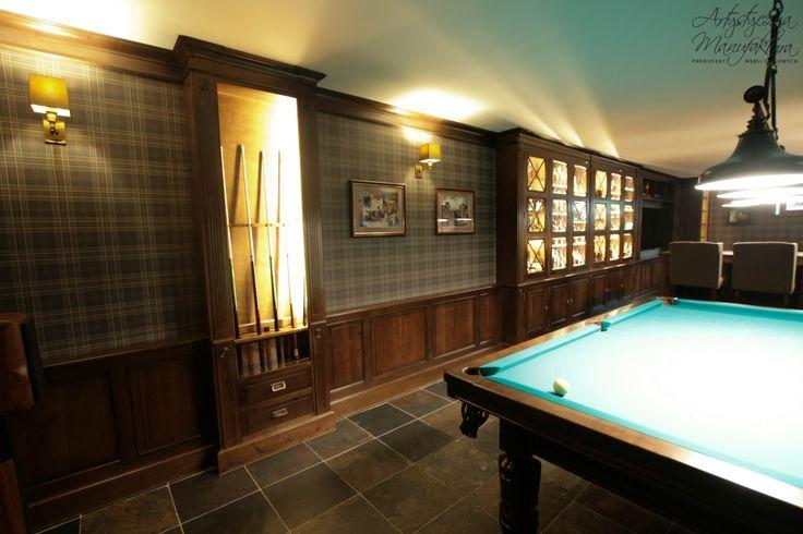 sala bilardowa, basement entertainment room, wainscoting - wykonanie Artystyczna Manufaktura
