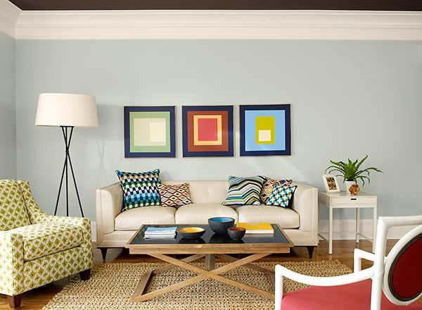 Ocean Air - A cool blue complements this living room's modern sensibility. Benjamin Moore & Co