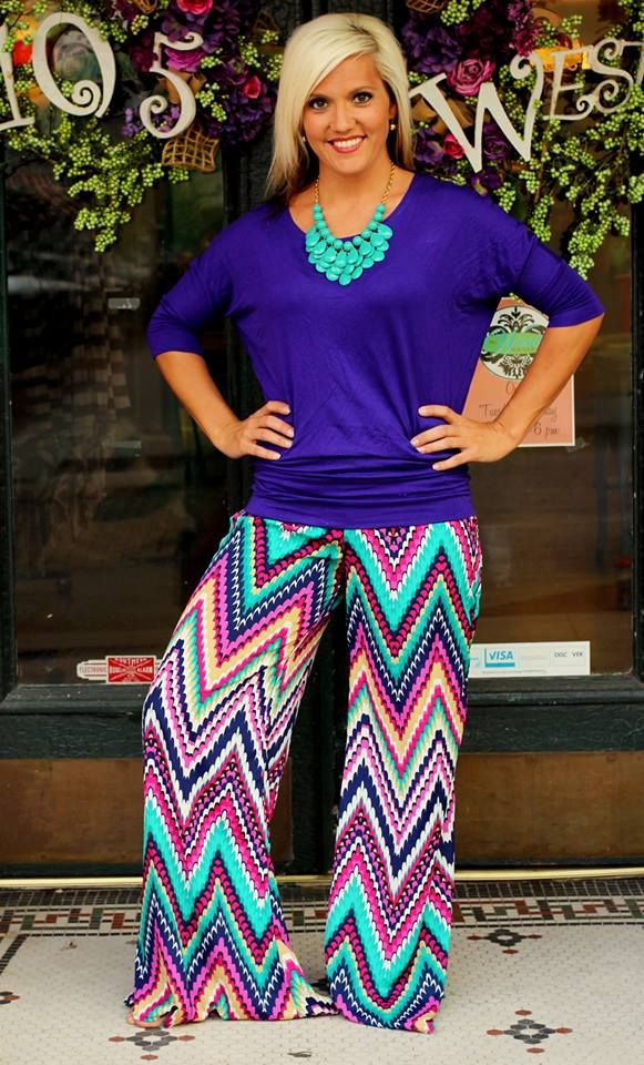 """""""Parker"""" Palazzo Pants. $39.99. S, M, L, XL, 2X, 3X. Shown with our famous Dolman Top ($16). Available at 105 West Boutique in Abbeville, SC. (864) 366-WEST. Shipping $5."""