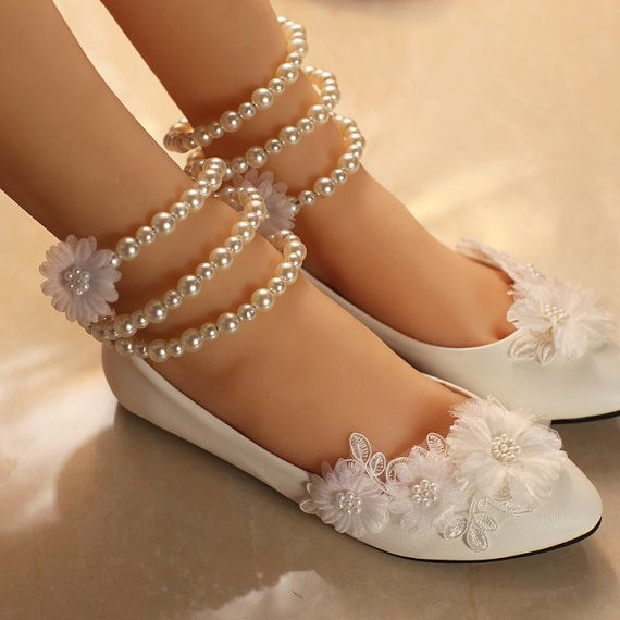 Ballet Flat Wedding Shoes Lace Flower Bridal Shoes by Cocoangelly