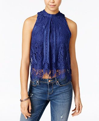 American Rag Lace Halter Top, Only at Macy's - Juniors Tops - Macy's