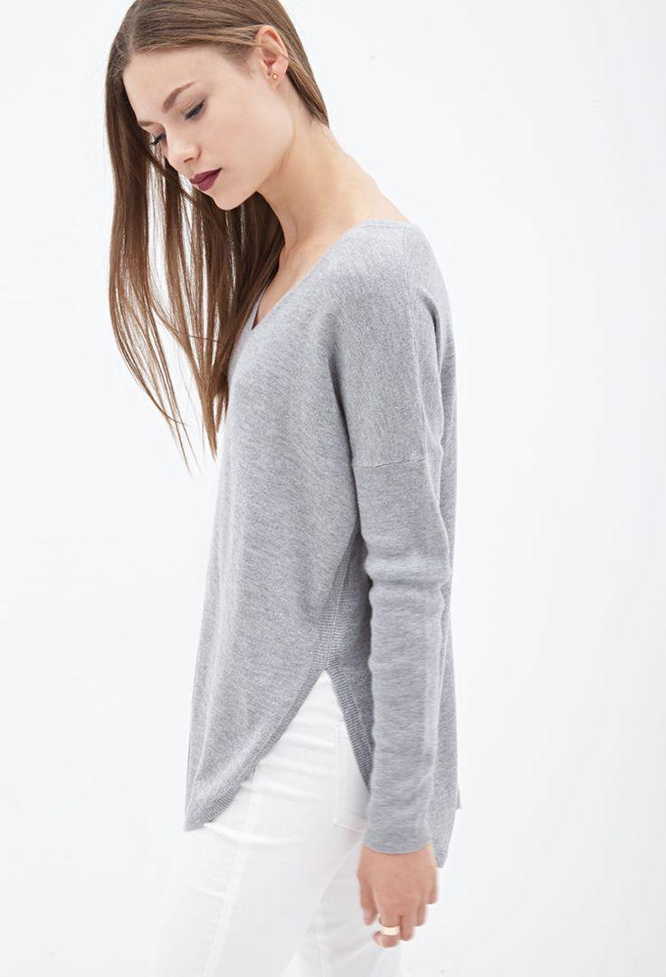 V-Neckline Dolphin Sweater - Clothing - Sweatshirts & Knits - 2000059447 - Forever 21 UK