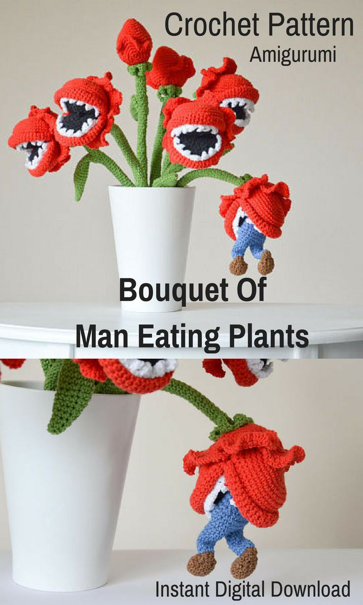 Look out for the Bouquet of Man Eating Plants! Have fun making your own Bouquet of Man Eating Plants when you purchase this crochet amigurumi pattern. It is a digital download so you will be able to print it off and start gathering your man eating plant supplies right away! #crochet #amigurumi #amigurumipattern #ad #maneatingplant
