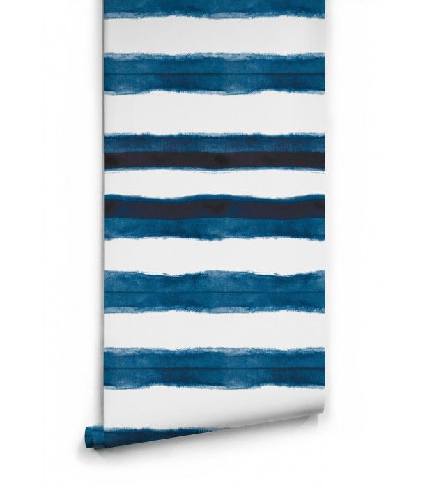 Shibori Stripe Wallpaper Aleutian