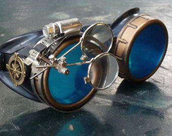 Steampunk victorien lunettes aviateur victorienne soudage biker coupe--gcg bleu cristallin