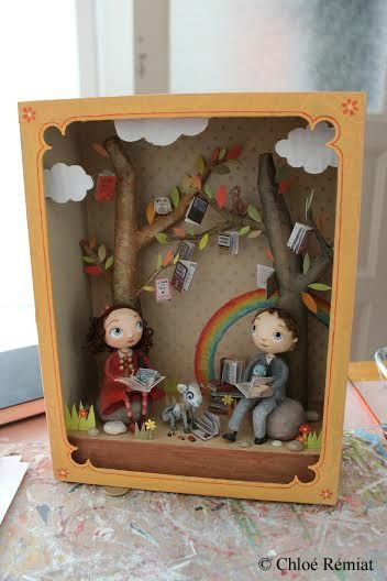 Chloe Remiat - paper illustrator 3d sculpture fairy tale story boxes,shadow play dioramas very cute kids room decoration ...make your own from paper or mixed media to hang as 3d pictures on childrens bed or play room walls boost their imagination and excitement