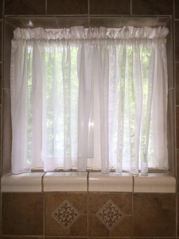 Curtain Bathroom Window Curtain Sheer Curtain By BandedPillows
