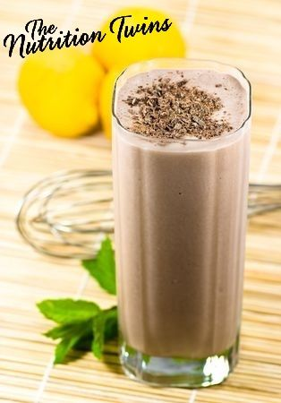 Cocoa Banana Burst Smoothie | Awesome Energy Boost to start off your morning | Protein & 8 grams Fiber!| Only 205 Calories | For MORE RECIPES like this please SIGN UP for our FREE NEWSLETTER www.NutritionTwins.com