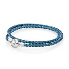 Navy Blue Double Leather Starter Bracelet 590747CBMX