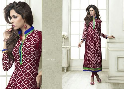 "Designer Wear Printed Georgette Kurti with American Crepe lining in Maroon and White color. Length: 45"" and Size: L, XL."