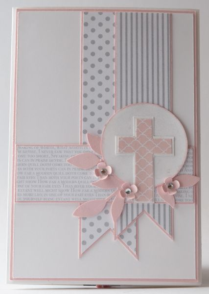 "Baby Card # 122 - Banners/ Cross/ Dedication/ Christening. Pictured Card Size 4"" x 6""."