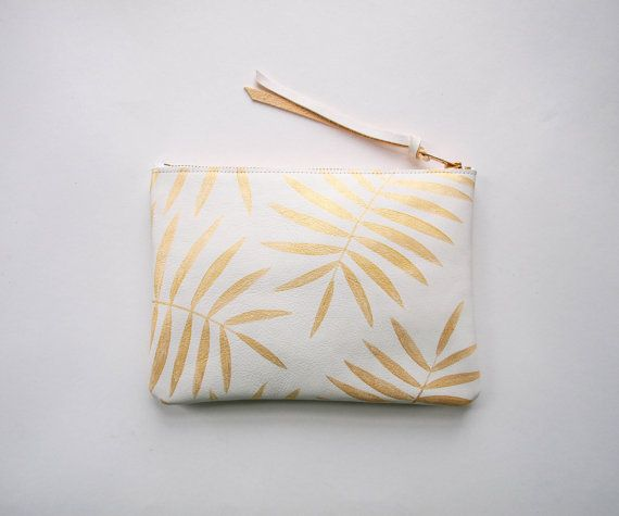 LOVE THIS  White Gold Palm Leaf Leather Zipper Clutch by kertis on Etsy, $88.00