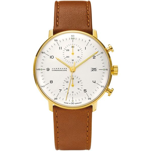 Max Bill for Junghans Max Bill Gold Automatic Chronograph Wristwatch (2'485 CHF) ❤ liked on Polyvore featuring jewelry, watches, accessories, chronograph watches, gold jewelry, yellow gold watches, brown watches and chrono watch