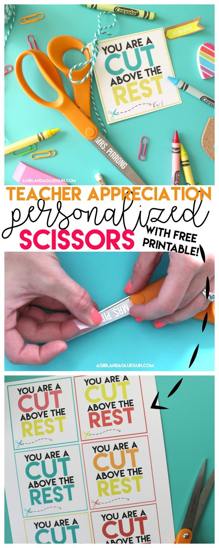 Cut above the rest Teacher printable - A girl and a glue gun
