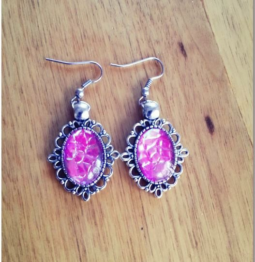 I had a request for pink iridescent earrings and came up with these!  The customer was very happy as was I with the final result.