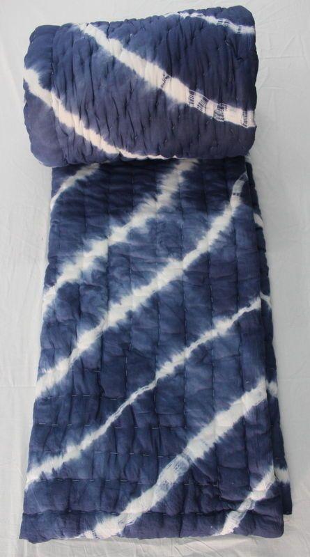 Hand Block Shibori Print Cotton Filling Indigo Blue Kantha Quilt Jaipuri Razai