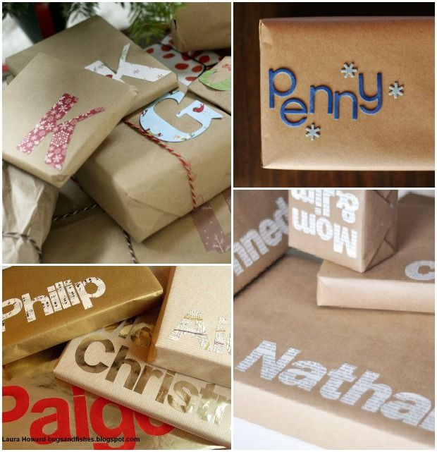 Wrap gifts with brown paper and personalize