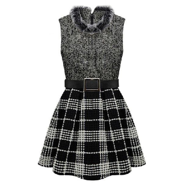 Gray Trendy Ladies Winter Fur Collar Plaid Skater Dress ($39) ❤ liked on Polyvore featuring dresses, vestidos, short dresses, black, grey, plaid dress, short gray dresses, tartan dress and black plaid dress