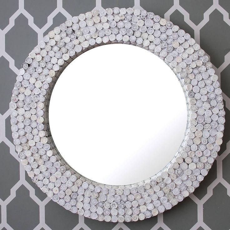 white round recycled mirror by decorative mirrors online | notonthehighstreet.com