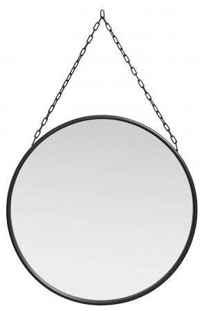 DOWNTOWN rundt spejl med jernramme - sort