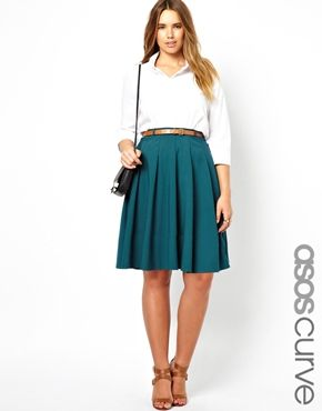 ASOS CURVE Exclusive Midi Skirt With Belt