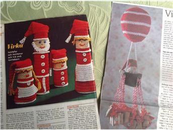 Virka julkalender; en luftballong med paket och udda tomtar