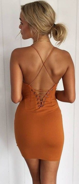 #summer #muraboutique #outfitideas |  Back Details Camel Little Dress