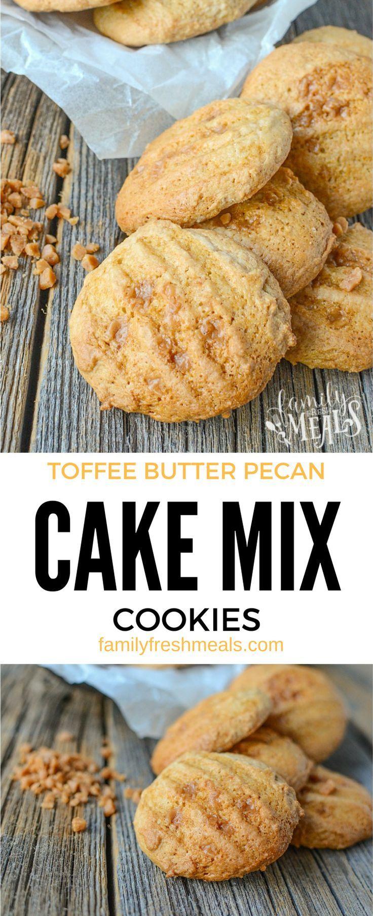 Toffee Butter Pecan Cake Mix Cookies - http://FamilyFreshMeals.com