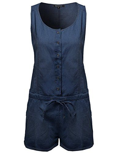 Classic Basic Denim Sleeveless Romper With Adjustable Waist Dark S   Special Offer: $20.75      211 Reviews Made by Emma is a brand based on the styles you love! Everywhere you go enhance your style. The more you save and explore, the more we'll get to know your personal...