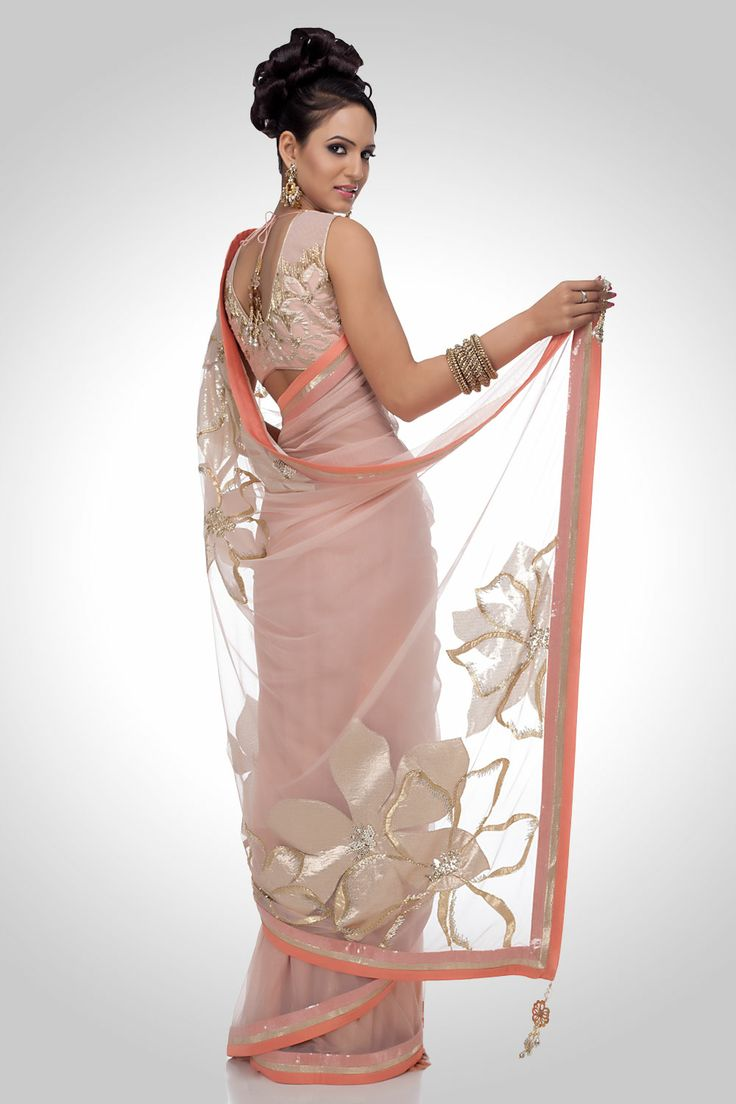 indian+sari+style+in Pink Back View
