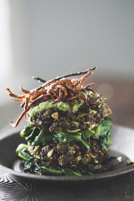 Lentil Cakes with Basil Pesto, Wilted Greens and Lemon Zucchini Fries by
