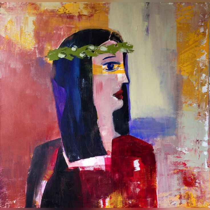 Woman with olive wreath