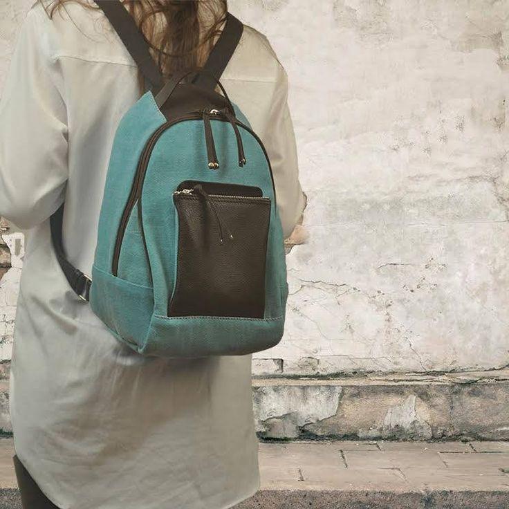 Handmade canvas-leather backpack,daypack,knapsack ,named Myrto by iyiamihandbags on Etsy