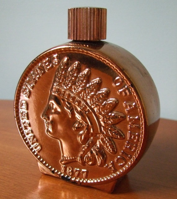 Vintage Avon Indian Head Penny 1877 Decanter Coin Bottle