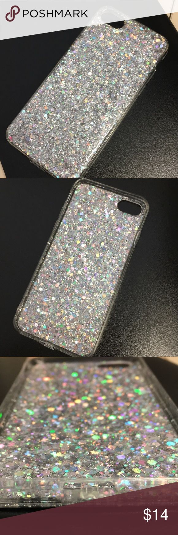 Glitter iPhone Case✨ If you sweat glitter then this phone case is for you ✨ Brand new in package.  Size: iPhone 7* Color: Silver Glitter Material: Silicone/Gel/Rubber  -Shockproof -Soft Glossy Finish -Anti-Dust Plug for Charging Port  *This case is designed for the iPhone 7, but CAN fit an iPhone 6/6s as well. The only issue you'll run into is that the headphone jack on iPhone 6/6s will be covered. Accessories Phone Cases