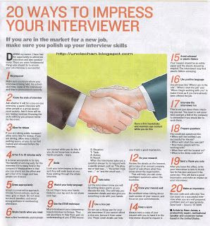 Uncle Chan's discourse: 20 Ways To Impress Your Interviewer