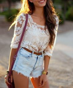 Dont wear a lot of white cause of the dirt factor but love this look for summer, the pretty lace and casual short. #fashion #beautiful #pretty Please follow / repin my pinterest. Also visit my blog http://www.fashionblogdirect.blogspot.com/