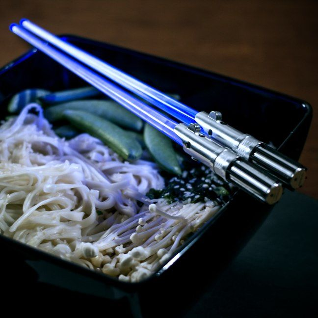 This is the eating utensil of a Jedi Knight. Not as clumsy or random as a knife and fork an elegant chopstick for a more civilized age. Available in Luke (blue)