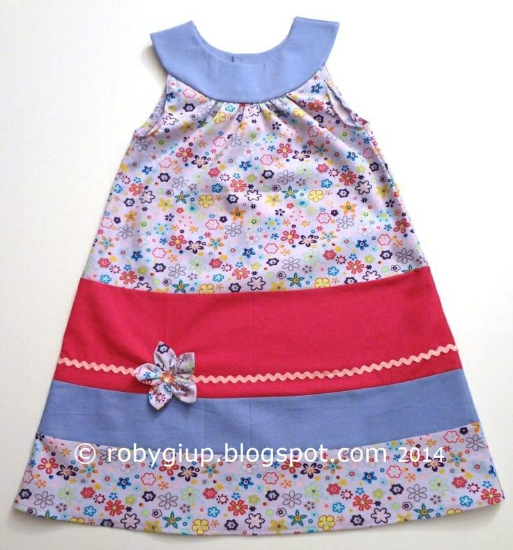 Colourful girl dress with fabric flower size 2T - RobyGiup handmade #girl #clothing. Fabric SewingSewing DiyPillowcase ...