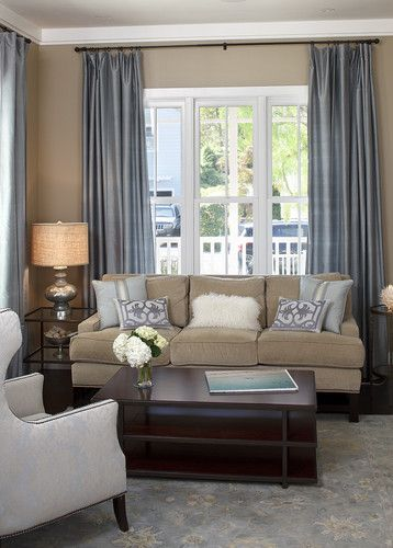 So having beige wall and couch work - use blue or other soft color for summer and darker for winter! add color to details. Living Room Dark Beige Design, Pictures, Remodel, Decor and Ideas - page 2
