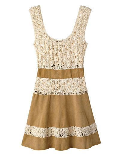 Cotton crochet and suede dress, MB Beach Couture by Maria Buccellati, $700, at H. Lorenzo, L.A.