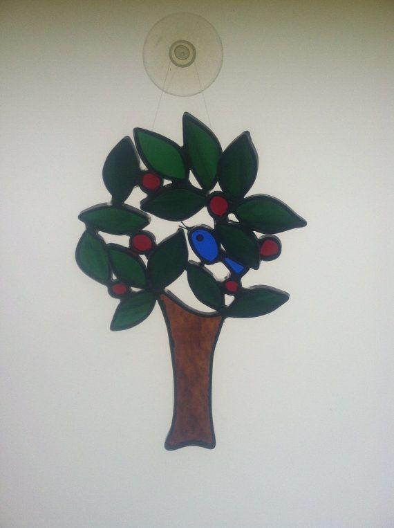 Stained Glass Suncatcher  Bluebird in Cherry by TinseysWhimseys