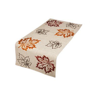"""Red Barrel Studio Dresden Embroidered Fall Table Runner Size: 36"""" W x 16"""" L, Color: Natural"""